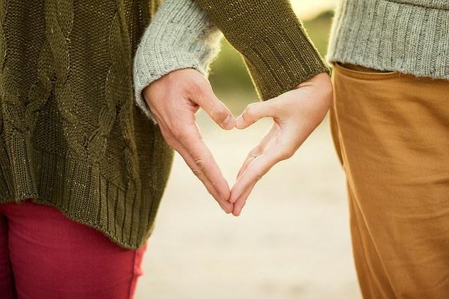 男女の愛を手で表現
