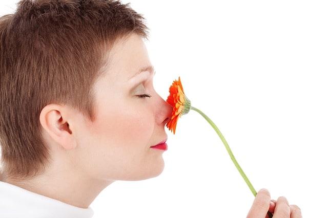 女性が花の匂いを嗅いでいる写真